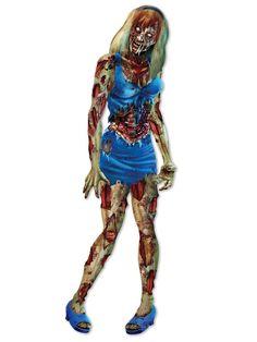 """Schauriges Zombie-Mädchen Papp-Figur Halloween Party-Deko bunt 183cm. Aus der Kategorie Halloween Partydeko / Halloween Raum-Dekoration. Fühlen Sie sich manchmal alleine? Diese Halloween-Wanddeko lässt keine Gefühle der Einsamkeit aufkommen, denn die Zombie-Dame schenkt Ihnen in Ihrer Wohnung stets die vollste Aufmerksamkeit. Nur zu nah herankommen sollten Sie lieber nicht... Sonst wird das Verhältnis schnell weit """"inniger"""" als Sie es zu hoffen wagten."""