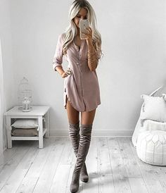 Dusty Pink T-Shirt Dress & Thigh High Boots