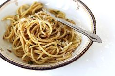 Spaghetti with Anchovy Garlic Sauce