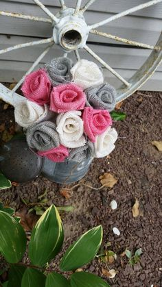 Handmade burlap wedding bouquet DIY pink grey white rustic bridal shower project farmhouse country bride shabby chic vintage Victorian by ANGIESZZZCRAFTS on Etsy