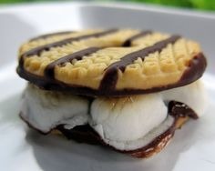 Lazy S'mores via Plain Chicken using Keebler striped cooked and mini mallows or mallow cream