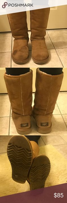 Ugg Authentic Classic Tall boot Ugg Australia Classic Tall 5815. Genuine Sheepskin lining.  Tan Color. Leather/suede Upper.  Previously worn and loved.  See photos for some signs of wear.  Still alot of life left in them!  These are a size 7 but Uggs run a little big. UGG Shoes Winter & Rain Boots
