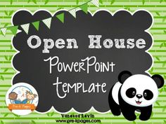 A ready made Panda Theme PowerPoint template for preschool, pre-k, and kindergarten open house. Classroom Rules, Classroom Themes, Classroom Activities, Classroom Organization, Preschool Open Houses, Preschool Kindergarten, Preschool Ideas, Parent Open House, How To Use Powerpoint