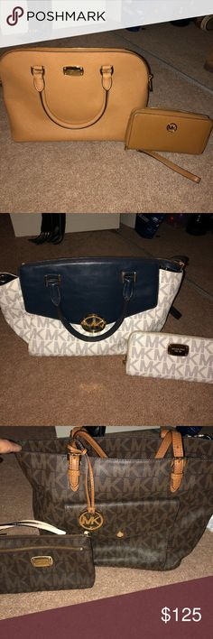 Micheal Kors Purse & Wallets Hi, I am selling some of my MK bags and wallets. Haven't really used them since I got a few Lv bags. All in great condition Michael Kors Bags