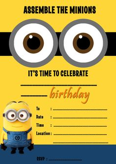 Download Now Free Printable Minion Birthday Invitation Templates
