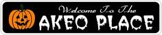 AKEO PLACE Lastname Halloween Sign - Welcome to Scary Decor, Autumn, Aluminum - 4 x 18 Inches by The Lizton Sign Shop. $12.99. Predrillied for Hanging. 4 x 18 Inches. Rounded Corners. Great Gift Idea. Aluminum Brand New Sign. AKEO PLACE Lastname Halloween Sign - Welcome to Scary Decor, Autumn, Aluminum 4 x 18 Inches - Aluminum personalized brand new sign for your Autumn and Halloween Decor. Made of aluminum and high quality lettering and graphics. Made to last...