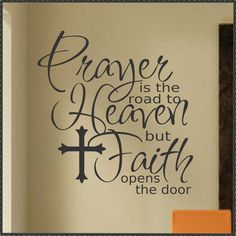 Vinyl Wall Lettering Religious Quote Prayer Faith with Cross. $18.00, via Etsy.