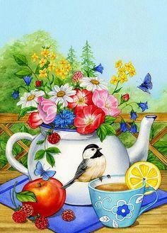 Diamond Painting Bird 083 Paint with Diamonds Art Crystal Craft Decor Flag Store, House Flags, Spring Is Here, Spring Summer, Garden Flags, Bird Art, Tea Time, Good Morning, Beautiful Morning