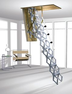 Columbus DSC Elektro Aluminum Concertina Loft Ladder -- Available in a range of standard opening sizes and suits a ceiling height up to 4300mm. The unit comes complete with a timber hatchbox, trapdoor and a die-cast aluminium concertina ladder. Its electrical operation of the trapdoor and ladder is controlled by a push-button. Optional Trapdoor Insulation, Telescopic Handrails & Remote Control are available. # From £2,500.00 + VAT