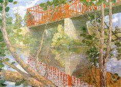 """""""Le pont rouge"""", huile sur toile de Julian Alden Weir (1852-1919, United States)"""