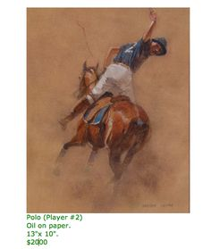 POLO PLAYER #2  oil on paper  13 x 10 inches  $2000