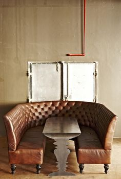 Truth Coffee by Haldane Martin Banquette Booth Cafe Design, Bar Design Awards, Leather Dining, Steampunk Coffee, Furniture, Interior, Home Decor, Leather Dining Bench, Coffee Shop