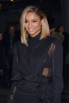 Pin for Later: 30 Celebrity Lob Looks to Inspire Your Spring Haircut Ciara The striking contrast of blond tips and dark roots adds an edgy element to Ciara's midlength haircut.