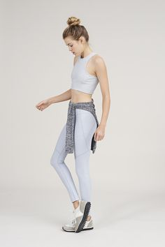 The Warmup Leggings in Powder Blue from Outdoor Voices.