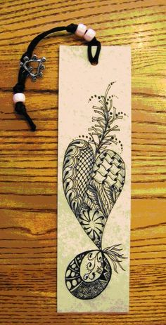 ah! Pen and Ink! book mark  Zentangle idea --