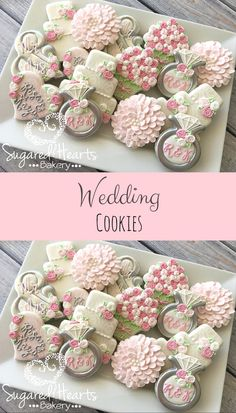 Bridal Shower Wedding Pink and Silver Cookies Favor Ideas #affiliate