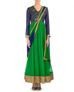 Kelly Green Anarkali Suit with Draped Dupatta