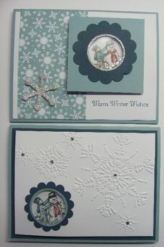 Lynn's shaker cards with Winter Memories are soo cute! She also used Snow Festival dsp, Northern Flurry embossing folder, Snow Flurry die, silver glass glitter, & the Shaker Frames.