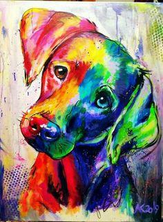 Colorful Animal Paintings, Indian Art Paintings, Dog Paintings, Original Paintings, Dog Pop Art, Dog Art, Dog Canvas Painting, Canvas Art, Tableau Pop Art