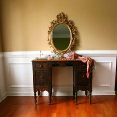 1930s Vanity Desk. Antique. Vintage Vanity. Vintage Desk. Dresser Drawers. Bohemian Chic. Boudoir. Bedroom. Earth Tones. Feminine. Rustic.