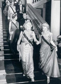 Queen Victoria Eugenia of Spain and Queen Ingrid of Denmark attending the wedding of Prince Juan Carlos of Spain and Princess Sophia of Greece & Denmark (future King and Queen of Spain), Athens 1962