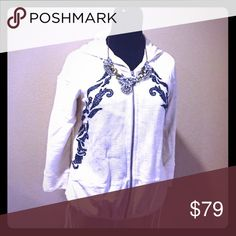 Anthropologie Zip Up Hoodie Like new. Not sure if this has ever been worn. Cute waffle material on top and lightly burnt out material on bottom. Pockets and drawstrings. Very light ivory with blue scrolls for details. Necklace not included. Anthropologie Tops Sweatshirts & Hoodies