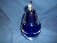 Vintage Heavy Glass Pear-Shaped Perfume Bottle with Stopper Cobalt Blue Jack Storms Glass, Old Perfume Bottles, Old Vases, Beautiful Perfume, Pear Shaped, Cobalt Blue, Beautiful Things, Glass Art, Jewelery