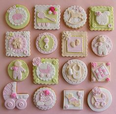 Custom Baby Shower Cookies - A new option to to patterned materials and décor are strong colors. Fancy Cookies, Sweet Cookies, Cute Cookies, Iced Cookies, Sugar Cookies, Baby Shower Treats, Baby Shower Cupcakes, Shower Cakes, Girl Cupcakes