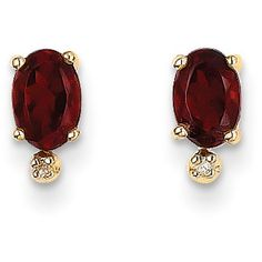 14k Yellow Gold Diamond & 6x4 Oval Garnet/Diamond Earrings ($77) ❤ liked on Polyvore featuring jewelry, earrings, gold, 14k gold jewelry, diamond earrings, 14 karat gold jewelry, gold jewelry and gold earrings