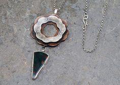 Totem - Sterling Silver, Copper and Bloodstone pendant by Leslie Zemenek for Z Leslie Jewelry.