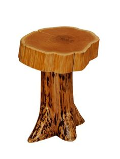 t Cedar Stump End Table with Slab Top Cabin Place