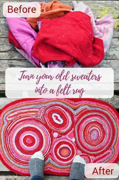 Don't throw away your old wool sweaters save them and make this goreous DIY felt. Don't throw away your old wool sweaters save them and make this goreous DIY felt rug. Felted Wool Crafts, Felt Crafts, Recycled Sweaters, Wool Sweaters, Upcycled Crafts, Sewing Crafts, Sewing Diy, Pullover Upcycling, Recycling