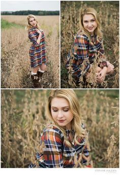 CLASS OF 2017  – ILLINOIS SENIOR PHOTOGRAPHER - Senior girl photos in field - flannel dress - Stephanie Hulthen, Photographer | www.StephanieHulthenPhotography.com