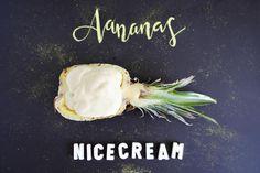 Nicecream = Gesundes Eis aus zwei Zutaten - sooo erfrischend, ohne Milchprodukte & ohne Zucker ... Ohne Eismaschine! Schmeckt wie Softeis!
