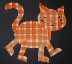 Plaid Cat Collage. Students make plaid paper with water color paints, then use the papers to create cut-paper cats.