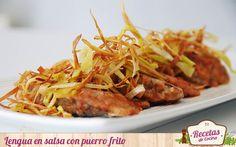 Lengua en salsa con puerro frito -  La lengua de ternera es una pieza complicada y no por los requerimientos a la hora de cocinarla. Pertenece al grupo de despojos que conocemos por casquería y como tal, no gusta a todos. Una buena salsa y acompañamiento puede ayudarnos a solventar ese problema, en parte. La lengua es una carne m... - http://www.lasrecetascocina.com/2014/09/14/lengua-en-salsa-con-puerro-frito/