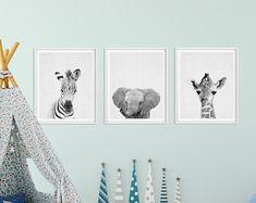 Decor van de kwekerij van de Safari, Baby dieren Set 3, Zebra olifant giraf, zwart-wit kwekerij Prints, kwekerij Wall Decor, digitale afdrukbare kunst