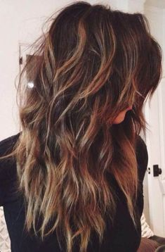 15 Sexy and Stylish Long Layered Haircuts. Long layered haircuts are totally making a comeback. Balayage hair is suitable for light and dark hair, Long Shag Hairstyles, Long Shag Haircut, Haircut For Thick Hair, Layered Hairstyles, Hairstyles 2018, Long Hairstyles With Layers, Formal Hairstyles, Guy Hairstyles, Gorgeous Hairstyles