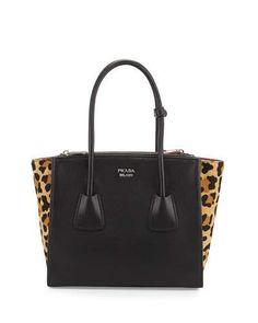 V2SFX Prada Calf Hair & Calfskin Medium Twin-Pocket Tote Bag, Black Leopard (Nero+Miele)