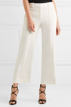 Adam Lippes - Cropped Crepe Straight-leg Pants - Ivory