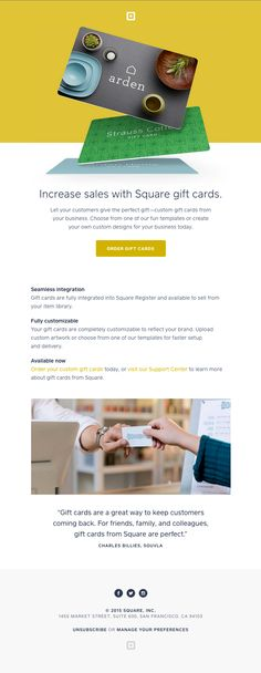 Onboarding – Increase Sales With Square Gift Cards - Really Good Emails