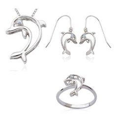"""Rhodium Plated Sterling Silver Genuine Blue Topaz Dolphin Pendant, 18"""", Earring, and Ring Set,$24.99"""