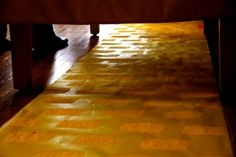 """Yellow Brick Road (yellow paper from a large roll + yellow sponge-painted """"bricks"""")"""