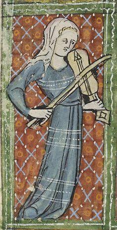 "Vielle or guitar-fiddle,  c. 1326-1327, resembling a fiddle or vielle, but with lute/gittern/citole soundhole. From ""De Nobilitatibus, Sapientiis, et Prudentiis Regum"", Bodleian Library, MS 92, Folio/page: 51v.   http://digital.bodleian.ox.ac.uk/inquire/p/25188189-40d8-471a-8129-68366ddc97fe"