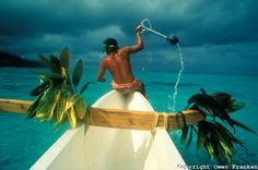 Stone fishing is a centuries-old tradition in Tahiti.