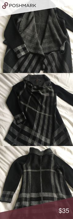 Dex black plaid button wrap sweater jacket Wear as an open cardigan or closed wrap sweater with an on trend plaid! Sold at Nordstrom. EUC. 75% acrylic, 10% wool, 10% viscose, 5% alpaca. 32 inches long. dex Sweaters Cardigans