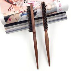 イノシシ毛ヘアカールブラシ木製ラウンド滑らかな髪ブラシ用ヘアカーリングプロ1ピースサロンヘアブラシくしBB-909