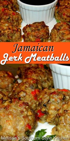 Enjoy these island inspired meatballs as an appetizer or an entree #jerkmeatballs #meatballs #meatballrecipes #jerkseasoning #pork #easygroundbeefrecipes #appetizers #dinner #dinnerideas #southernfood #southernrecipes Lamb Recipes, Meatball Recipes, Dinner Recipes, Cooking Recipes, Drink Recipes, Finger Food Appetizers, Appetizer Dips, Finger Foods, Melissas Southern Style Kitchen