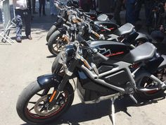 The Harley Davidson Livewire Electric Motorcycles ready to test ride at the launch at HD NYC in TriBeCa.