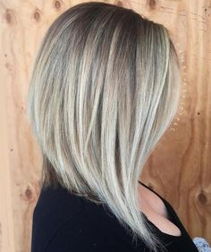 Angled Ash Blonde Lob For Straight Hair